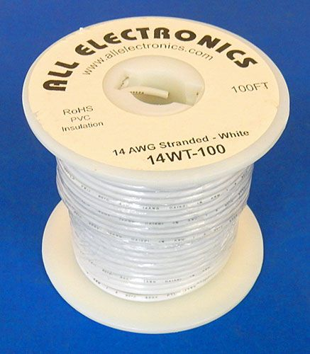 14 GA WHITE HOOK UP WIRE, STR 100'