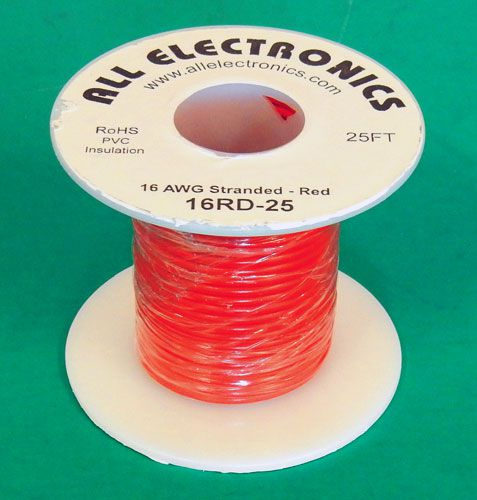 16 GA RED HOOK UP WIRE, STR 25'