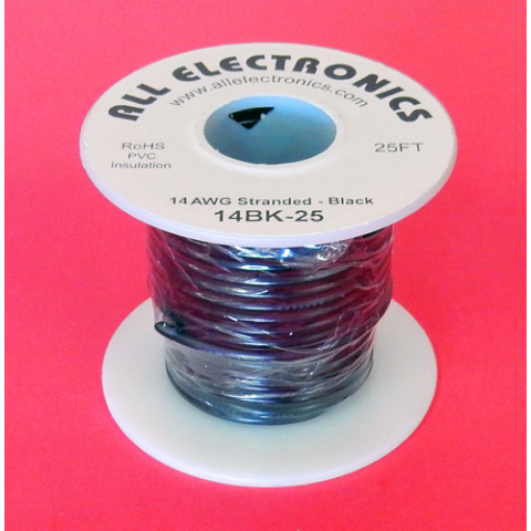 14 GA BLACK HOOK UP WIRE, STR 25'