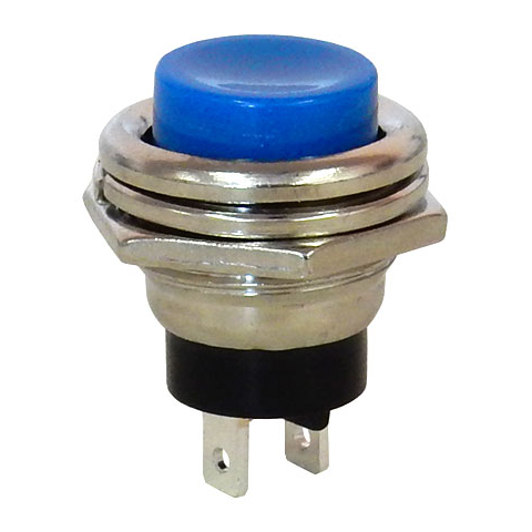 SPST PUSHBUTTON, N.O. CHROME BEZEL, BLUE BUTTON