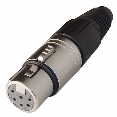 6-PIN FEMALE XLR CONNECTOR, IN-LINE