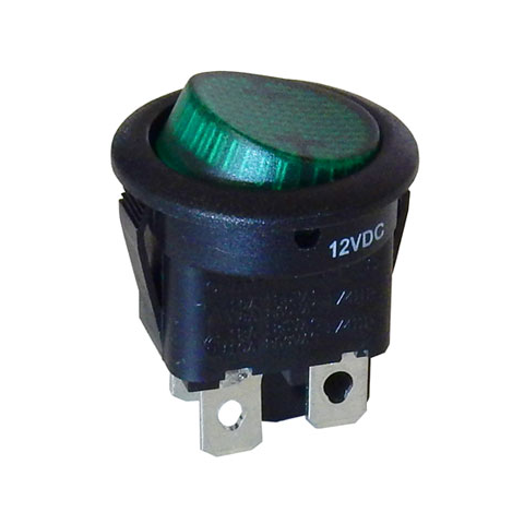 12 VDC GREEN LIGHTED ROCKER SWITCH