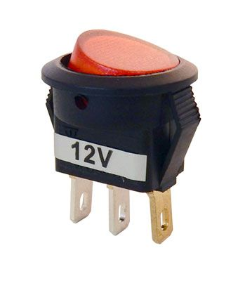 12V LIGHTED ROCKER SWITCH, SPST