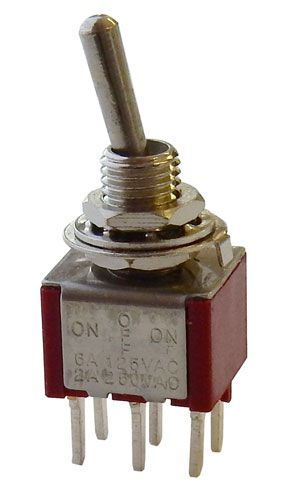dpdt on off on mini toggle switch pc terminals all electronics corp rh allelectronics com