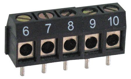 5-POSITION PC MOUNT TERMINAL STRIP, NUMBERED 6-10