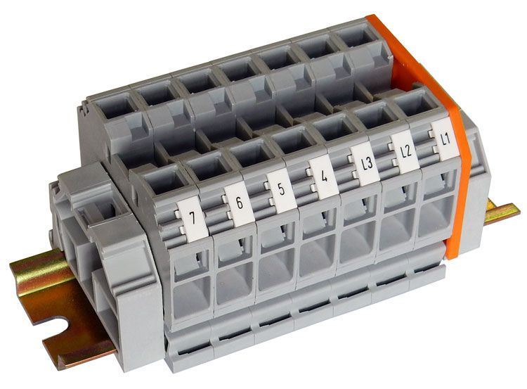 7-POSITION 57A TERMINAL BLOCK, DIN-RAIL ASSEMBLY