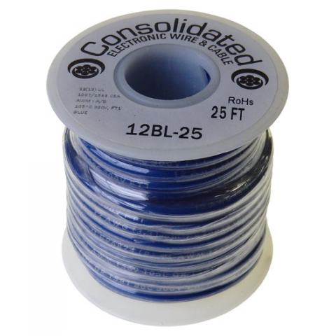12 GA STRANDED BLUE HOOK UP WIRE, 25'