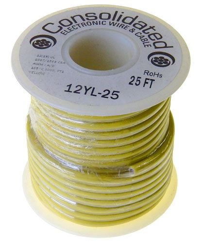 12 GA STRANDED YELLOW HOOK UP WIRE, 25'