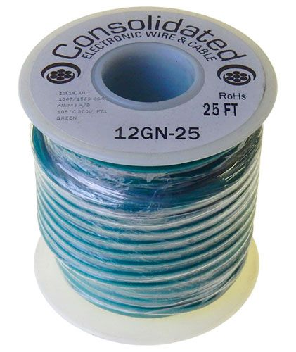12 GA STRANDED GREEN HOOK UP WIRE, 25'
