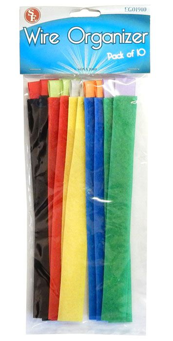 COLOR HOOK & LOOP STRAPS, 10 PIECES