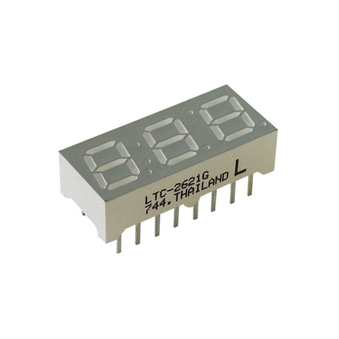 "3-DIGIT 7-SEGMENT LED DISPLAY, .28"" GREEN"