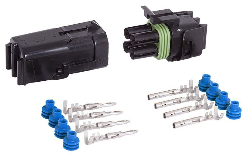4-COND SQUARE WEATHER PACK CONNECTOR KIT, 10-12 GA