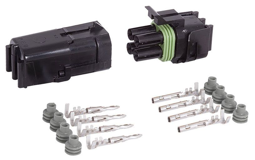 4-COND SQUARE WEATHER PACK CONNECTOR KIT, 16-14 GA