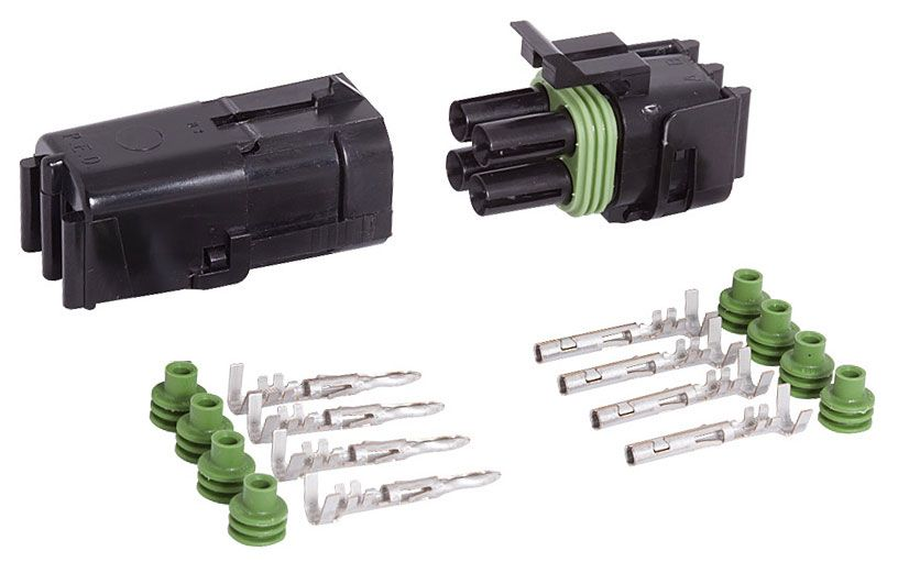 4-COND SQUARE WEATHER PACK CONNECTOR KIT, 18-16 GA