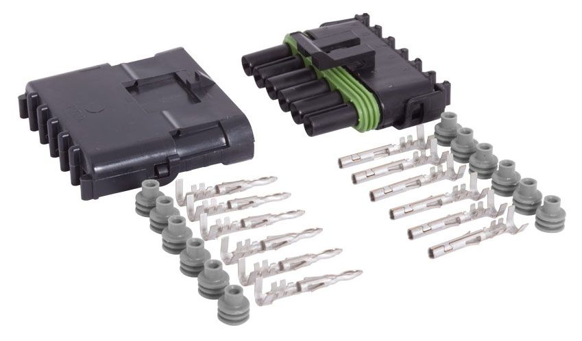 6-CONDUCTOR WEATHER PACK CONNECTOR KIT, 16-14 GA