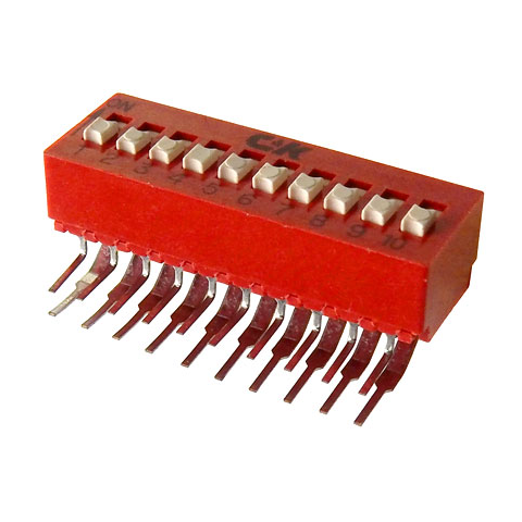 10 POLE DIP SWITCH, RIGHT-ANGLE MOUNT