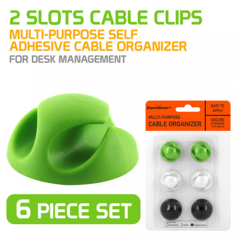 2-SLOT SELF-ADHESIVE CABLE ORGANIZER, 6-PACK