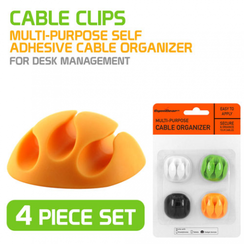 3-SLOT SELF-ADHESIVE CABLE ORGANIZER, 4-PACK