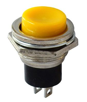 N.C. MOMENTARY PUSHBUTTON, YELLOW