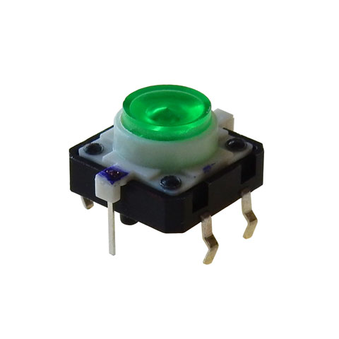 GREEN LED LIGHTED TACTILE MOMENTARY PUSHBUTTON