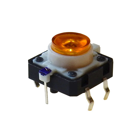 YELLOW LED LIGHTED TACTILE MOMENTARY PUSHBUTTON