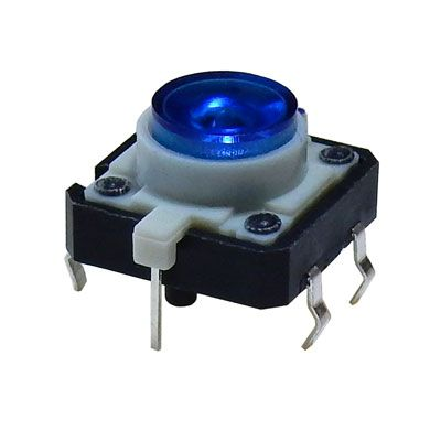 BLUE LED LIGHTED TACTILE MOMENTARY PUSHBUTTON