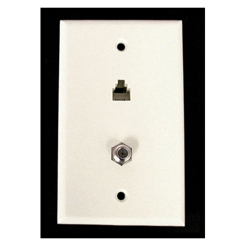 WALL PLATE W/ MOD PHONE PLUG & F-CONNECTOR, USED