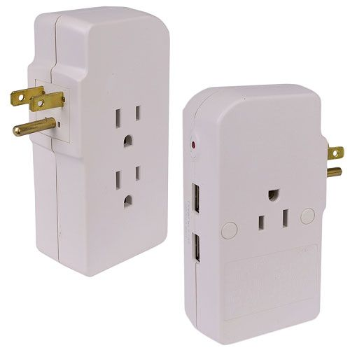 3 OUTLET SURGE PROTECTOR W/ 2 USB PORTS