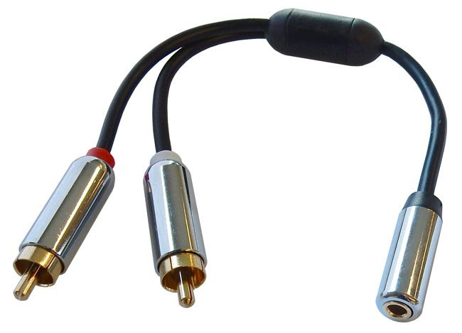 "6"" Y-ADAPTER W/ 3.5MM STEREO JACK TO 2 RCA PLUGS"