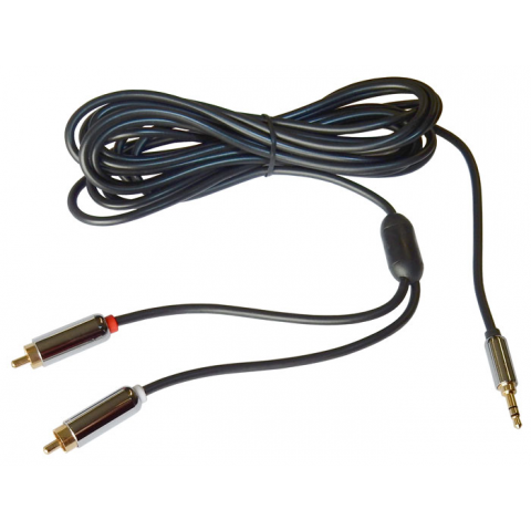 12 FT. Y-ADAPTER, 3.5MM STEREO PLUG TO 2 RCA PLUGS