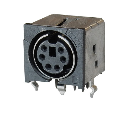 6-PIN MINI DIN JACK, PC MOUNT