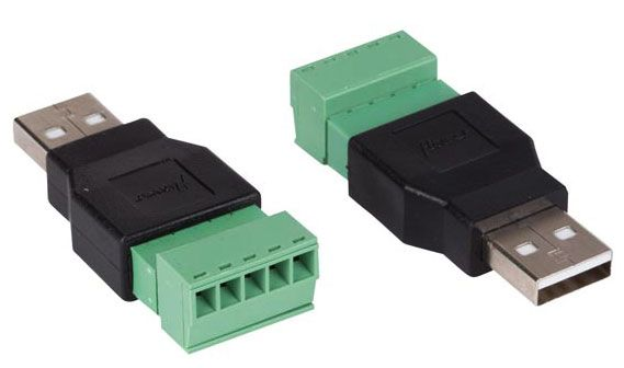 USB BREAKOUT CONNECTOR, MALE, 2-PACK