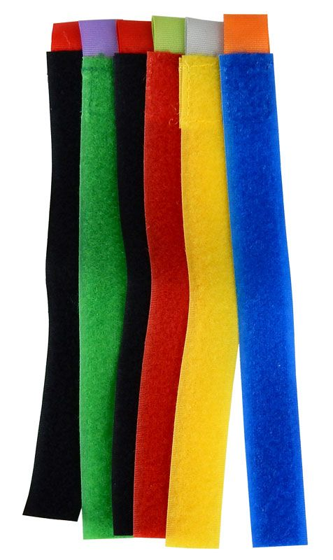 COLOR HOOK & LOOP STRAPS, 6 PIECES