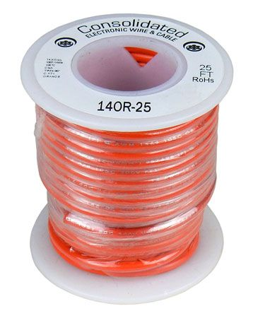 14 GA ORANGE STRANDED WIRE, 25'