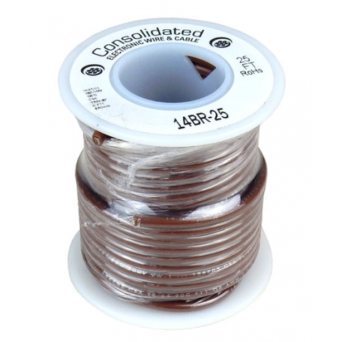 14 GA BROWN STRANDED WIRE, 25'