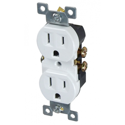 15A DUPLEX RECEPTACLE, WHITE
