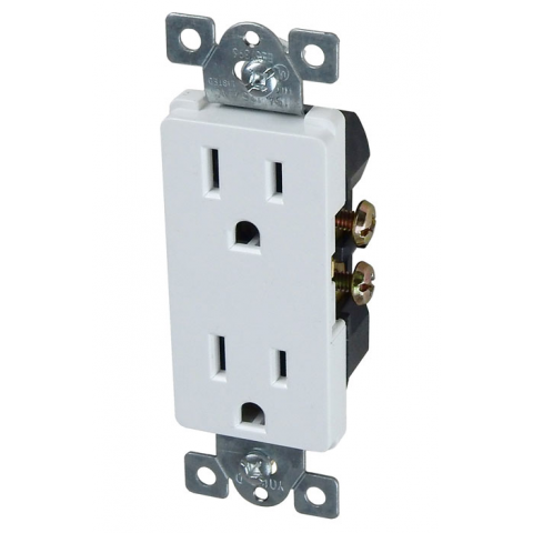15A DUPLEX RECEPTACLE, DECORA, WHITE