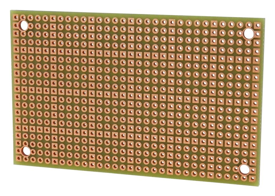 50 X 80MM SINGLE-HOLE BREADBOARD, DOUBLE SIDED