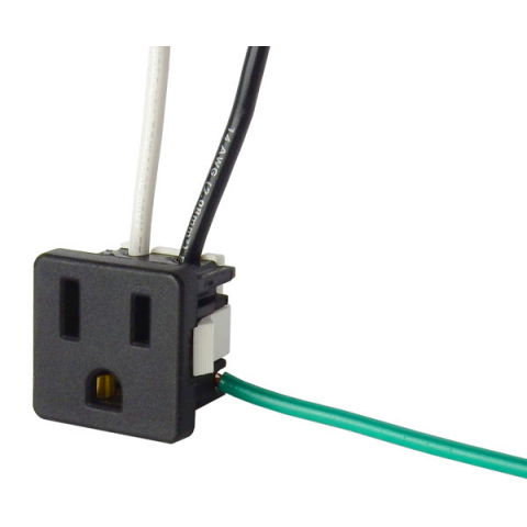 15 AMP GROUNDED AC OUTLET WITH WIRES