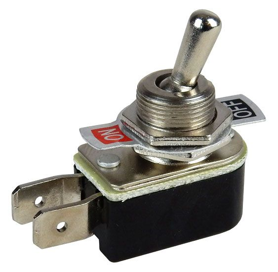 SPST ON-OFF TOGGLE SWITCH W/ PUSH ON TERMINALS