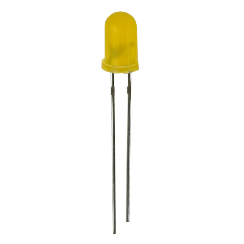 12V YELLOW DIFFUSED LED, 5MM (T1 3/4)