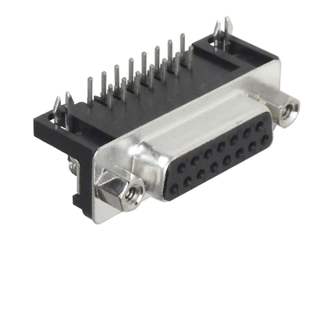 DB15 FEMALE CONNECTOR - RT. ANGLE - PC MOUNT