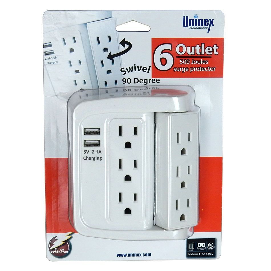6 OUTLET SWIVEL WALL MOUNT SOCKET W/ 2 USB PORTS