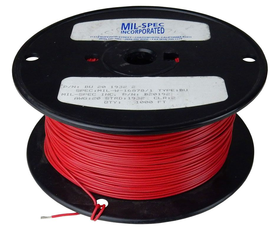 20 GAUGE STRANDED HOOK-UP WIRE, RED 1000' ROLL