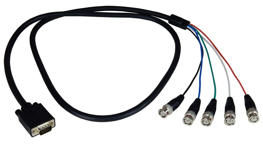 VGA (HD-15) TO 5 BNC CABLE, 5'
