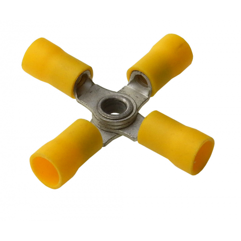 4 WAY RING TERMINAL YELLOW, 12-10AWG