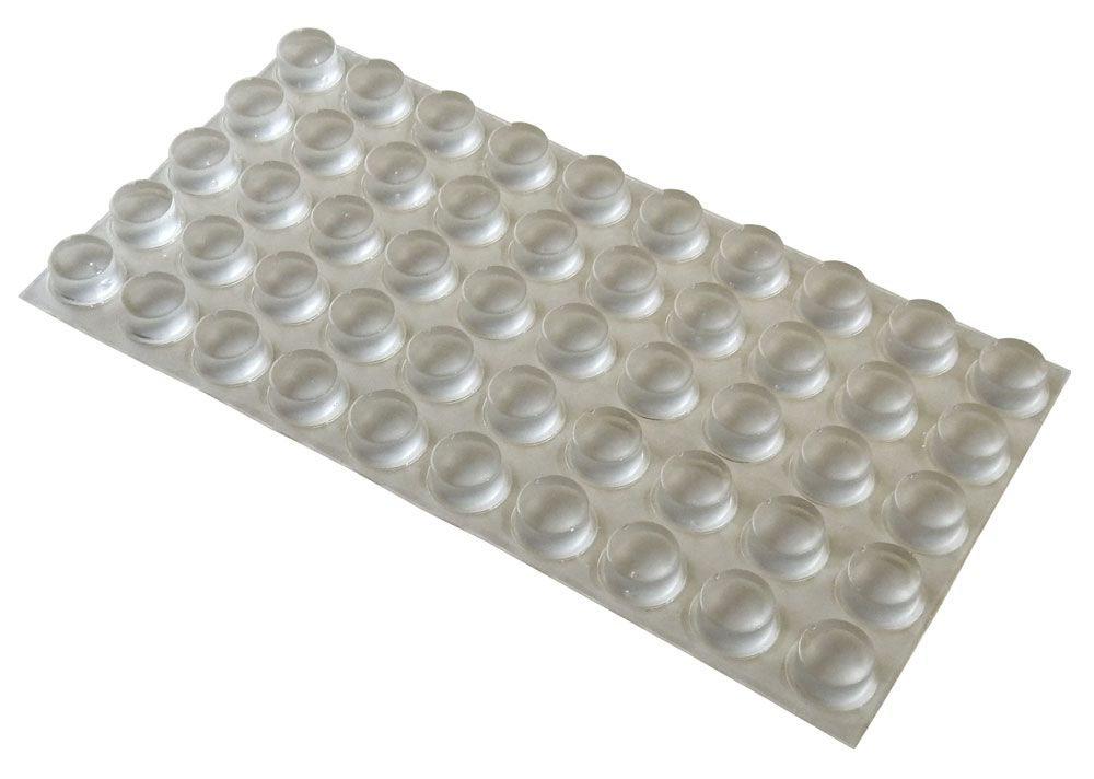 "RUBBER BUMPERS/FEET, 0.4""DIA X 0.25""H, CLEAR"