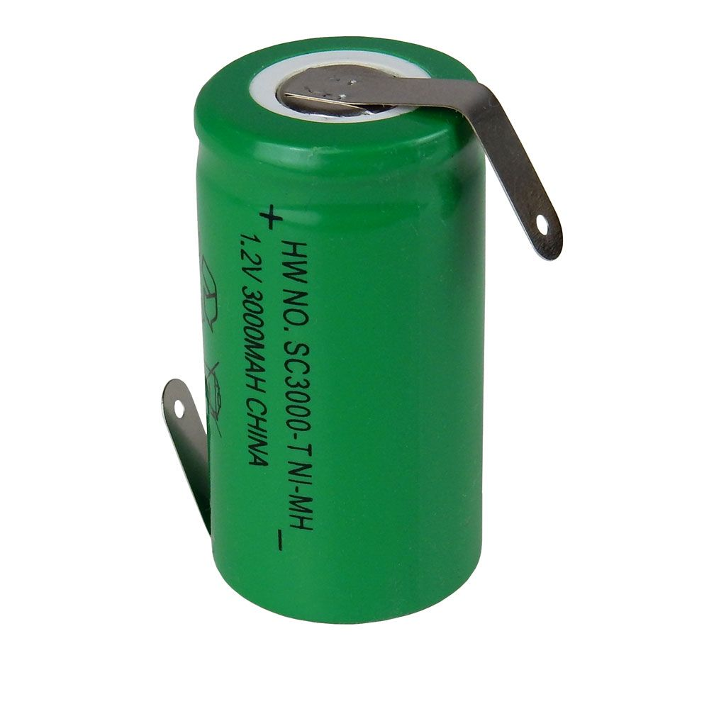NI-MH SUB-C 3000 MAH RECHARGEABLE, W/ SOLDER TABS