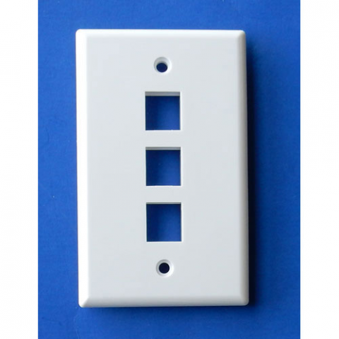 WALL PLATE FOR 3 KEYSTONE JACKS, WHITE