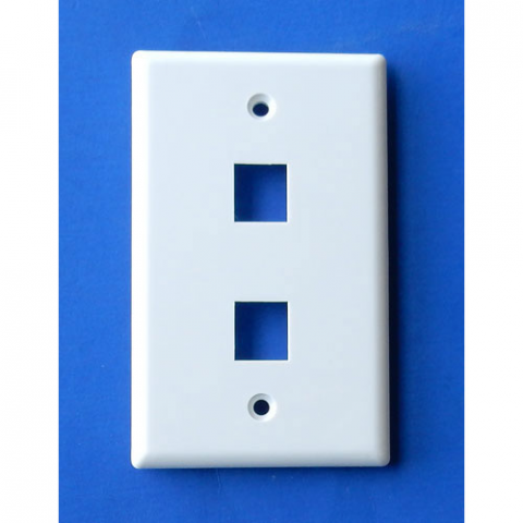WALL PLATE FOR 2 KEYSTONE JACKS, WHITE